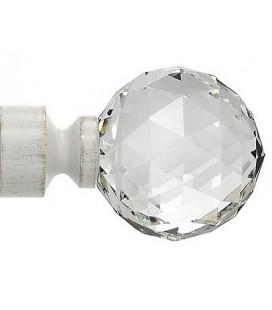 Bastone per tende Bianco antico cristallo