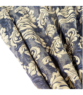 Luxury Classical Curtains Louvre  blue-grey-gold, Baccarda Collection
