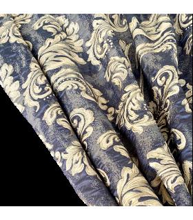 Роскошные классические шторы Лувр сине-серо-золотые, Коллекция Баккарда