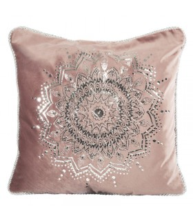 Pink Velvet cushion decorated with a Silver print