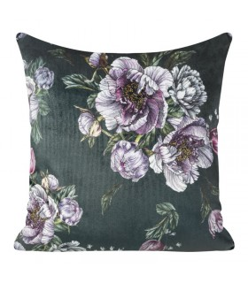 Graphite velvet cushion with floral print