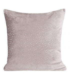 Pink velvet cushion with crystals
