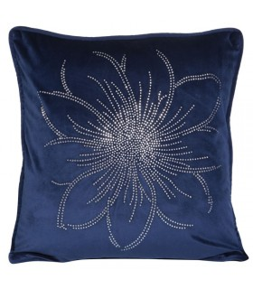 Soft Velvet Cushion in Blue Color with Crystal applications