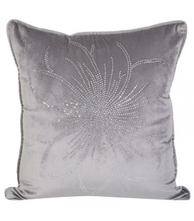 Soft Velvet Cushion in Silver Color with Crystal applications