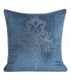 Blue Velvet Cushion with Damask Design