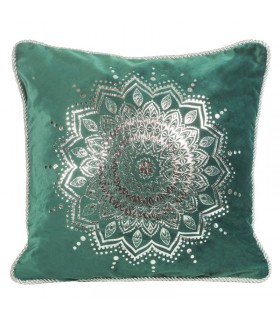 Green Velvet cushion decorated with a Silver print