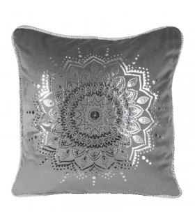 Grey Velvet cushion decorated with a Silver print