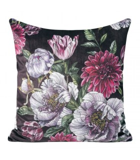 Purple and pink  velvet cushion with floral print