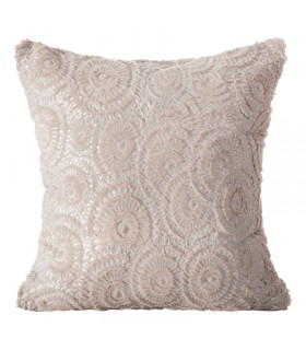 Decorative Pink  cushion in fur effect fabric, with Mandala Design, 45 x 45 cm