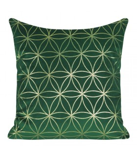 Green Velvet cushion decorated with a Golden print