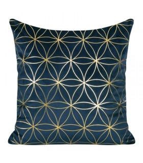 Blue  Velvet cushion decorated with a Golden  print