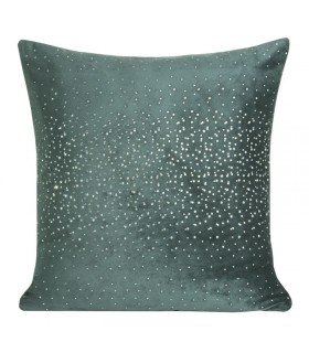 Turquoise velvet cushion with crystals
