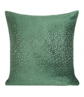 Green velvet cushion with crystals