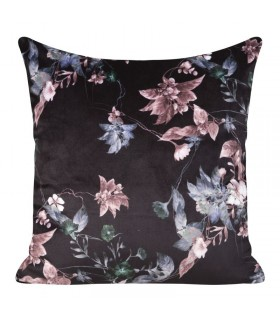 Velvet cushion with floral print