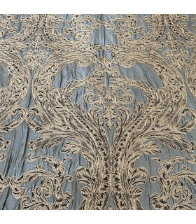 Luxury Jacquard for Curtains Monte Carlo, Green with Gold Pattern