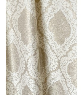 Jacquard Curtain Paris, shiny champagne color with Beautiful white motive