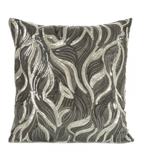 Cushion with sequins, Color: gray and silver, 45 x 45 cm