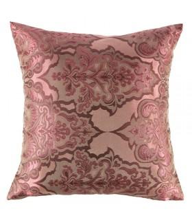 Damask motif Jacquard cushion, Bordeaux color, 40 x 40 cm