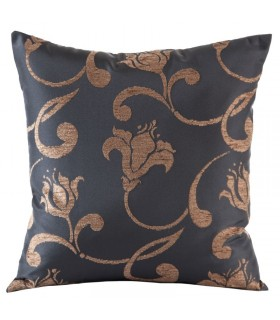 Cushion Jacquard with floral pattern, 40 x 40 cm, color brown