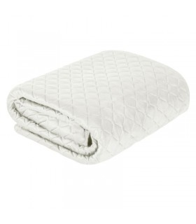 Quilted velvet bed cover, Cream color, 230 x 260 cm