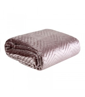 Quilted bed cover in powder pink velvet, 220 x 240 cm