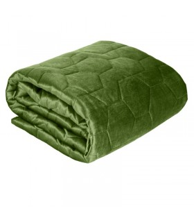 Quilted bed cover in green velvet, 170 x 210 cm