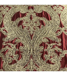 Великолепная Жаккардовая Штора в бордовом и золотом цветах.