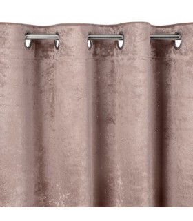 Eyelet Curtain, In Pink Velvet, 140 x 250 cm
