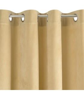 Rideau avec œillets couleur beige, 140 x 250 cm