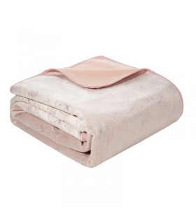 Quilted bed cover in powder pink velvet printed, 220 x 240 cm