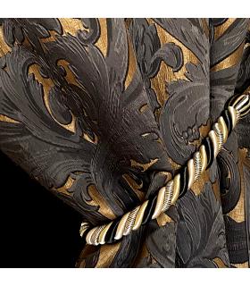 Tenda Doppia Jacquard di Lusso in colore Nero e Oro, motivo Barocco con embrasse dorata coll. Bellezza Nero