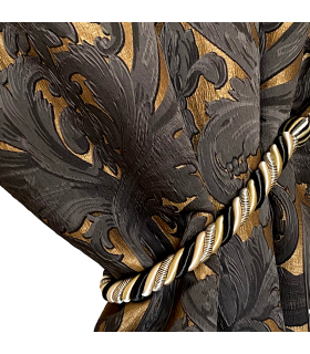 Luxury Jacquard Double Curtain in Gold and Black color, Baroque motive, with gold curtain tassel, coll. Bellezza Black