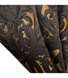 Luxury Jacquard Double Curtain in Gold and Black color, Baroque motive, coll. Bellezza Black
