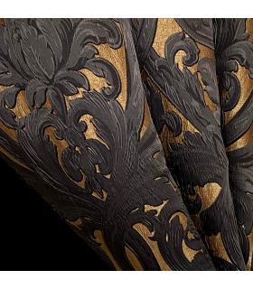 Роскошный жаккардовый двойной занавес в золотисто-черном цвете, мотив в стиле барокко, колл. Bellezza Black
