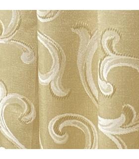 Luxueux, Double Rideau de couleur Or avec motif Crème