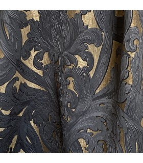 Luxury Jacquard, in Gold and Black shades, Baroque motive, coll. Bellezza Black
