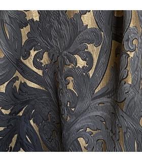 Роскошный жаккард, Ткань в золотистых и черных оттенках, мотив в стиле барокко, колл. Bellezza Black