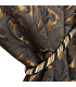 Luxury Jacquard Fabric for Curtain in Gold and Black color, Baroque motive, with gold curtain tassel, coll. Bellezza Black