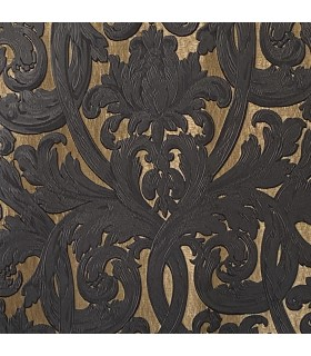 Luxury Jacquard Fabric for Curtain in Gold and Black color, Baroque style, coll. Bellezza Black
