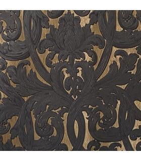 Ткань в золотом и черном цвете, стиль барокко, коллекции. Bellezza Black