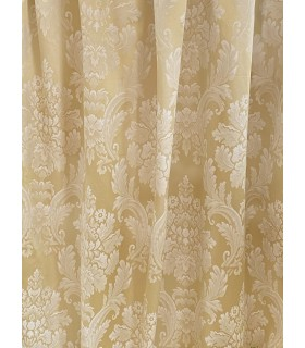 Gold color, Cotton Jacquard fabric  with Classic White motive