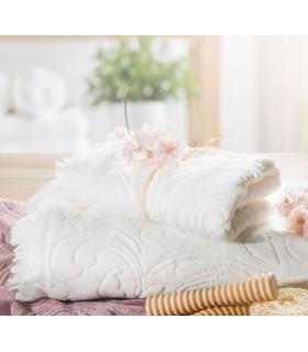 Asciugamano con disegno ornamentale in tessuto jacquard