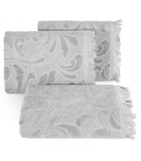 Полотенце жаккардовое дизайнерское, бежевого цвета, 70 x 140 см.