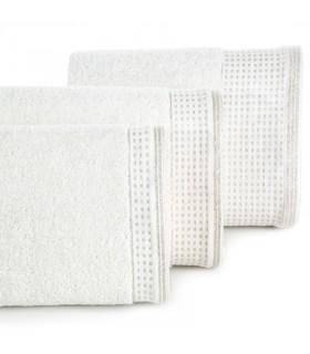 Asciugamano Ospite, Colore Bianco con Decorazioni in Argento, 30 x 50 cm