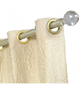 curtain jacquard cream gold with eyelets